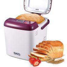 SKG 迷你面包机3931 -1磅自动面包机,紫/白色(功能面板为英文版)