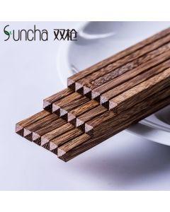 双枪(SunCha)中华鸡翅木家用筷子10双装 25CM