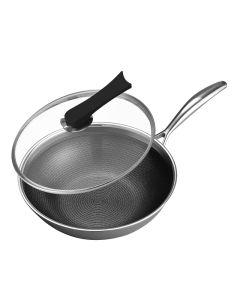 Joydeem 家用304不锈钢炒锅 轻油少烟不易粘锅 燃气电磁炉通用30cm(11.8英寸)