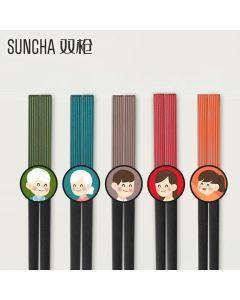 【包邮】Suncha 双枪家用合金分食筷 多色彩拼接 不易发霉生菌 5双装