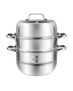 张小泉 不锈钢三层蒸锅 一锅多用 大容量28*42cm