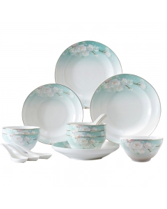 Songfa 松发陶瓷18头桃花缘餐具套装 优质月光瓷 微波炉洗碗机适用