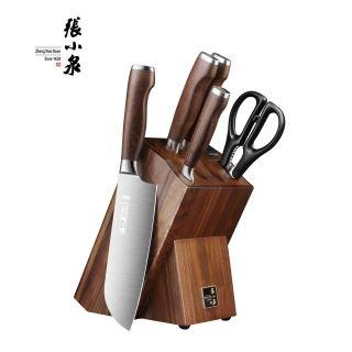 张小泉 淳木系列刀具六件套 刀刃锋利 耐磨硬朗 自带磨刀器
