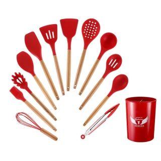 Becware 硅胶厨房用具套装12件套 硅胶铲勺刮刀食物夹 耐高温 马卡绿/玫瑰红