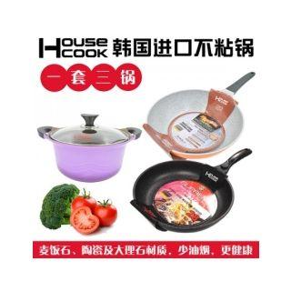 韩国魔石陶瓷涂层煎炒锅&汤锅&大理石涂层煎锅HC28-24