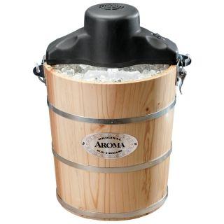 Aroma木桶冰淇淋机AIC-206EM 6升大容量 可电动可手摇