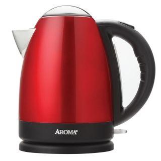 Aroma不锈钢电热水壶AWK-125R 1.7L红色烧水壶