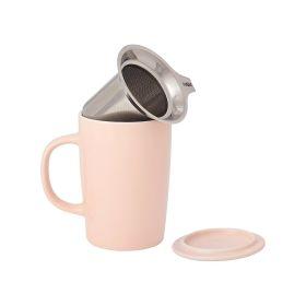 浅粉色倾斜式滴滤杯泡茶杯陶瓷杯 茶杯 16盎司