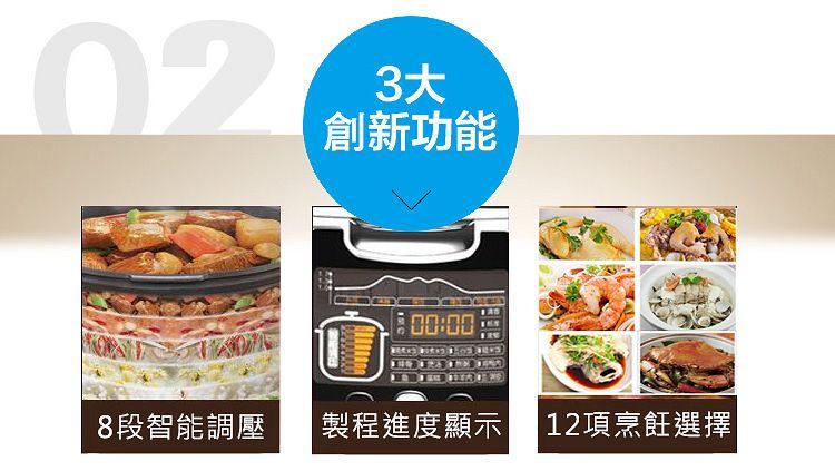 九阳电压力锅JYY-50FS98三大创新:8段智能调压,制程进度显示,12项烹饪功能