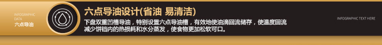 利仁电饼铛LR-A434五大功能升级2: 六点导油设计,省油 易清洁