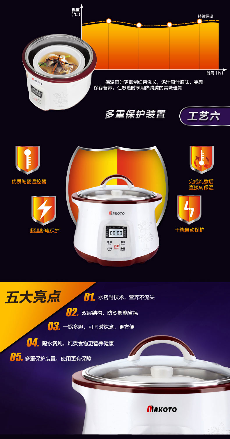 Makoto电炖盅DGD-18EG产品展示
