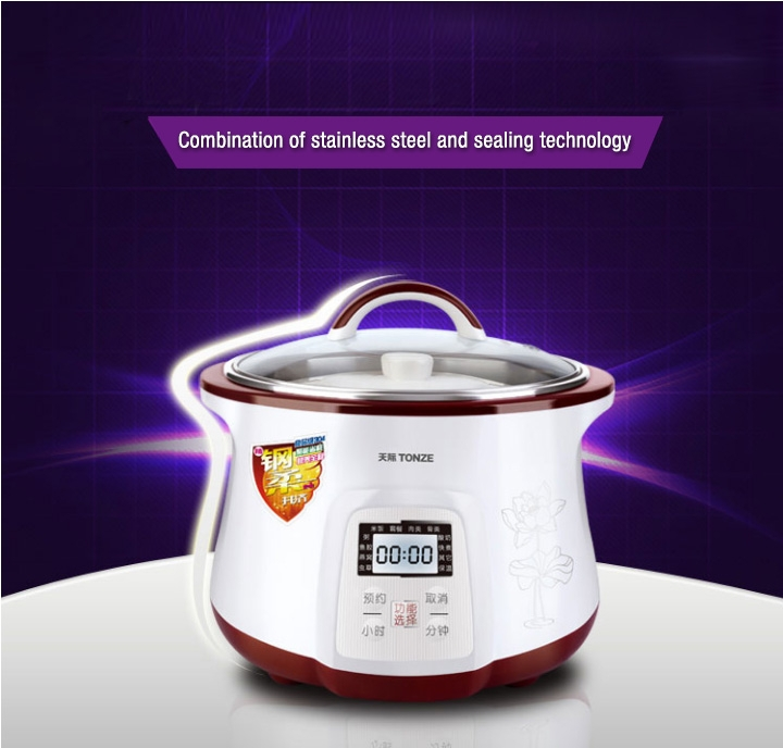TONZE SMART ELECTRIC STEW POT DGD-18EG 1.8L WITH 4 CERAMIC INNER POTS